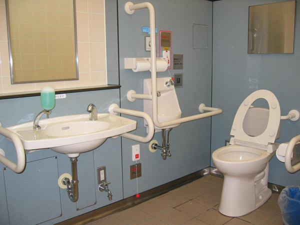 hospital bathroom with white grab bars